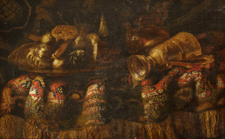 Still Life with a Rich Rug, Gold Plate, a Nautillus Shell Cup topped by a Cupid, a Bust of Diana ...