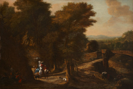 Landscape with a Stone Bridge and a Couple on Horeseback Embracing