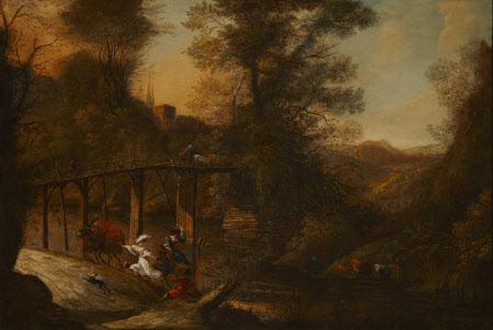 Landscape with a Wooden Bridge and two Women escaping from a Man