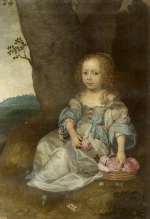 An Unknown Young Girl seated on the Ground with a Basket of Roses