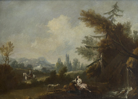 Hilly Landscape with two Country Women and a Dog by a Small Waterfall and a Rider on a Road
