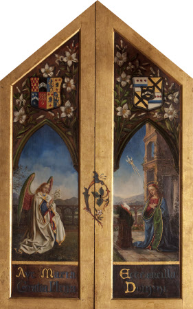 Triptych: centre panel: The Madonna in Adoration; pediment: Virgin in Glory; exterior of wings: ...