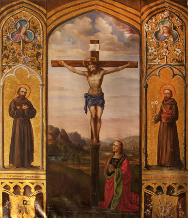 Triptych with Christ crucified with Saint Mary Magdalen (after Pietro Perugino), and Saint Francis ...