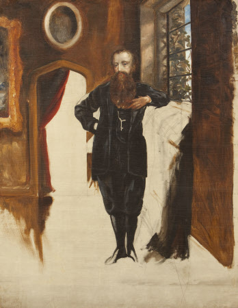 Edward Heneage Dering (1826-1892) standing in an interior at Baddesley Clinton