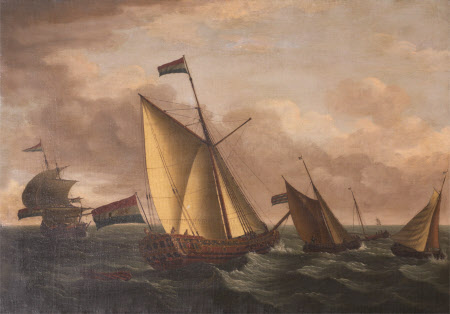Dutch Ships in Choppy Seas