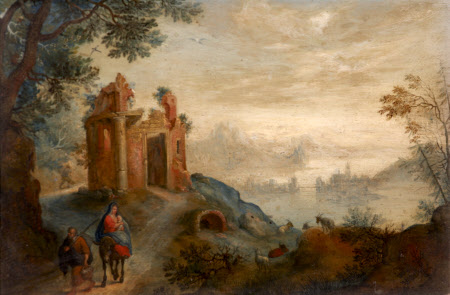 Landscape with a Ruined Temple and the Flight into Egypt