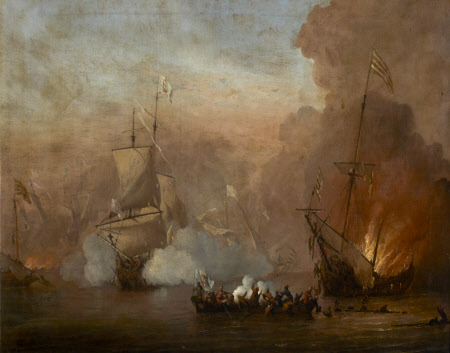 A Naval Engagement between an English Ship and Barbary Ships
