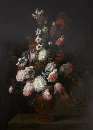 An Earthenware Vase of  Flowers