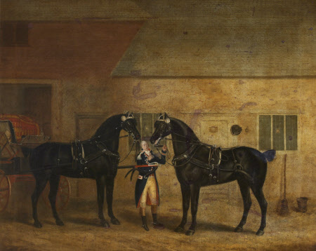 Two Carriage Horses in a Stable