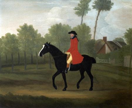 A Huntsman on a Black Horse near a Cottage