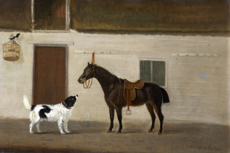 'Bruen', a Spaniel and 'Squirrel', a Black Horse, with a Magpie