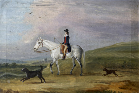 A Young Rider on a Grey Horse, and Two Dogs