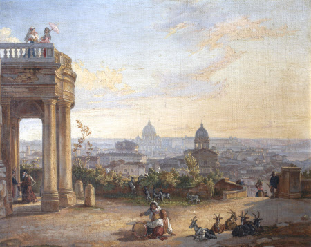View of Rome, from a Palazzo, with Figures and Goats