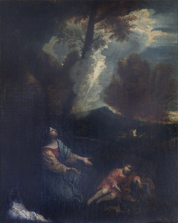Hagar and Ishmael in the Desert, rescued by the Voice of an Angel (after Pier Francesco Mola)