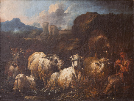 A Shepherd Boy with Sheep, Goats and Cattle