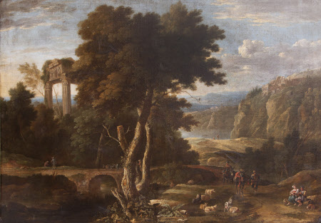 Classical Landscape with Travellers and a River