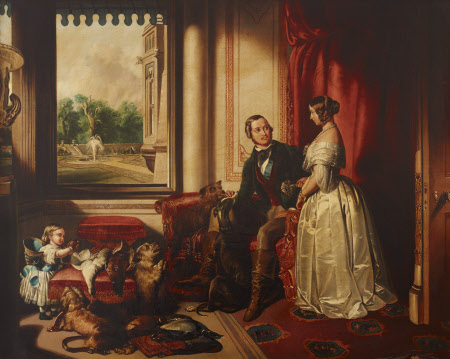 'Windsor Castle in Modern Times': Queen Victoria, Prince Albert with his Favourite Greyhound, Eos, ...