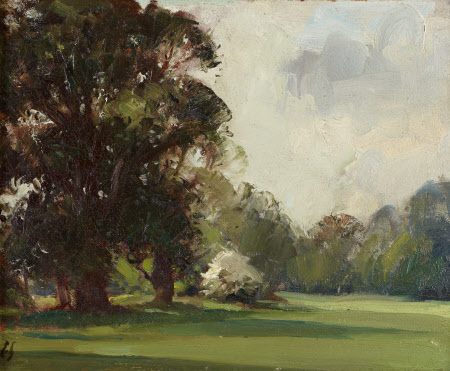 View of the Gardens at Anglesey Abbey: the South Lawn with Elm Trees