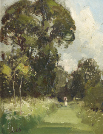 Anglesey Abbey Gardens with a Lady in White on a Grass Path holding a Parasol