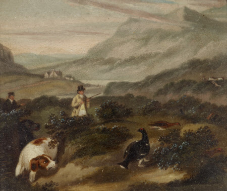 A Scottish Shooting Scene with a Pointer, a Blackcock and Grouse