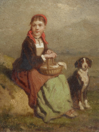 Girl and a Dog resting by the Wayside
