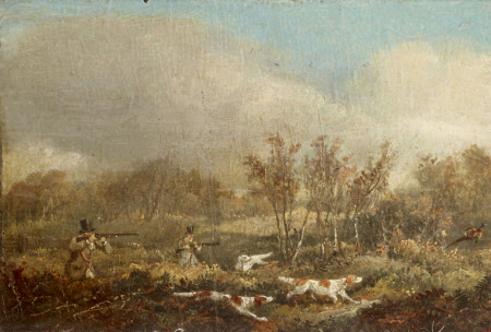 Pheasant Shooting; Two Guns and Pointers