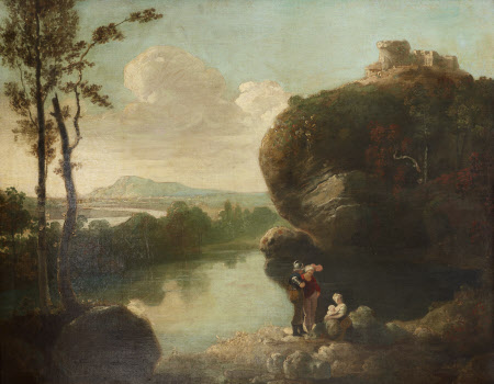 Classical Landscape with Lake, Castle and Figures