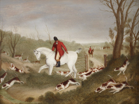 Hunting Scene of Huntsman encouraging Hounds through a Gate