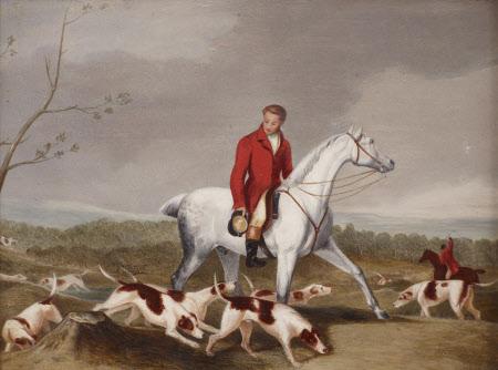 Hunting Scene of  Huntsmen casting Hounds