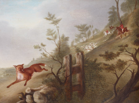 Hunting Scene: a Fox followed by Hounds and Huntsmen in Full Cry, down a Hill