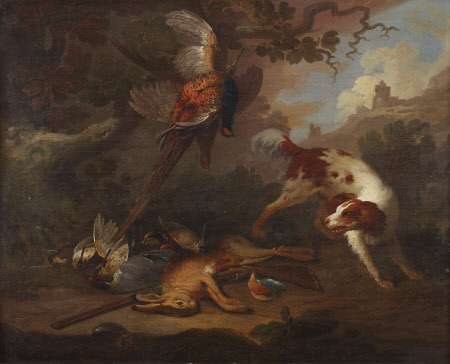 Spaniel with Dead Game and a Gun in a Landscape