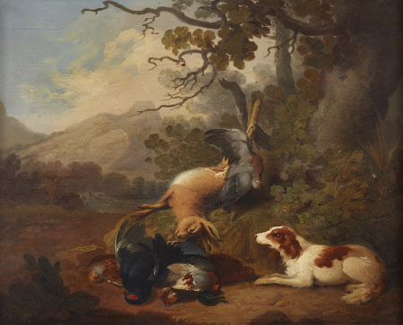 Spaniel with Dead Game in a Landscape