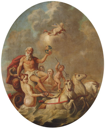 Neptune rising from the Sea in his Chariot, holding aloft the Royal Coat-of-arms, with Attendants ...