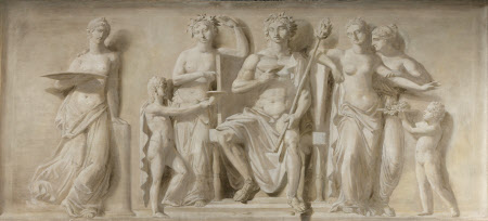 Bacchus enthroned served by Boys with Attendant Bacchantes