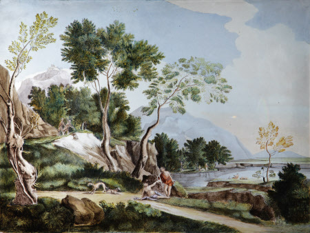 Landscape with Mythological Scene (possibly Diana and Endymion)