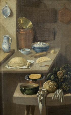 Kitchen Still Life with Pastry and Vegetables