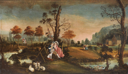 Naïve Landscape with a Rustic Courting Couple, a Woman milking a Cow, Goats and with a Church and ...
