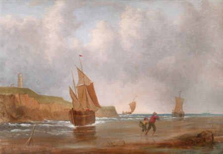 Coastal Scene with Boats offshore, Fisherfolk on the Beach and a Lighthouse on a Cliff