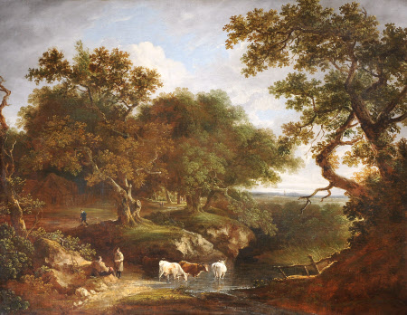 Landscape with Cattle watering and Rustics on a Track
