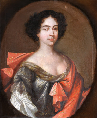 A Lady of the Knightly Family in a Grey Dress and Pinkish-Red Mantle