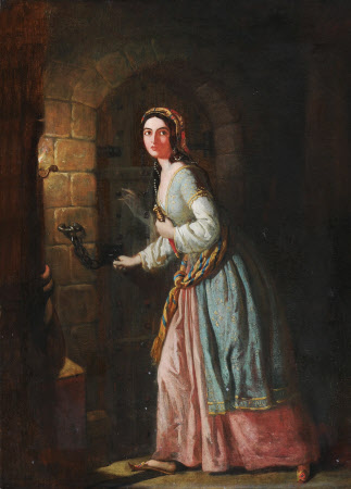A Lady in Oriental/Turkish Dress in a Dungeon with a Dagger (possibly an Actress)