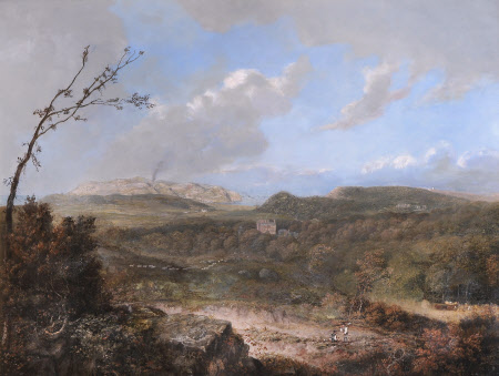 View of Frieth Hill towards Pydew Mountain, with Two Men working in a Quarry in the Foreground, and ...