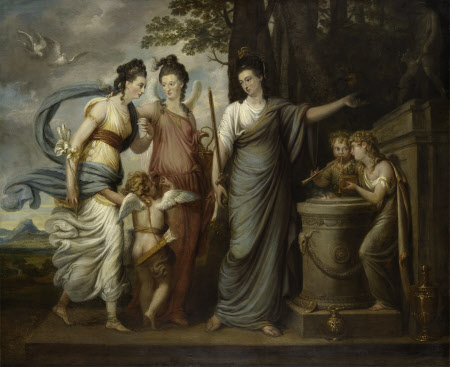 Allegorical Scene with Juliana, Countess of Carrick (1727/8–1804) as Wisdom, directing her Younger ...