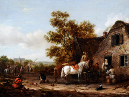 Figures and Horses by a Tavern