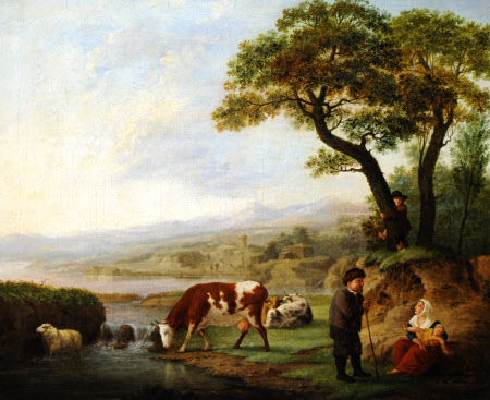 An Old Man conversing with a Seated Mother and Child in a River Landscape