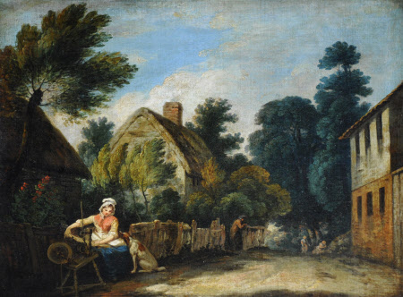 A Woman spinning in a Farmyard Setting