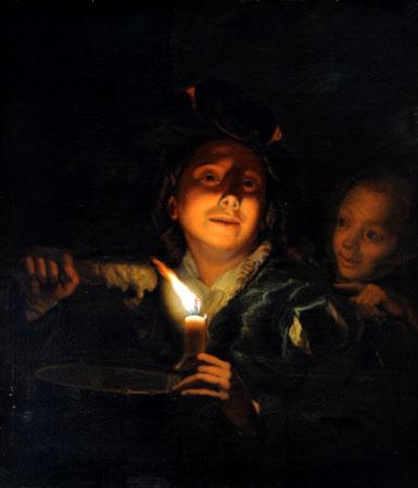 Children melting Wax (after Schalcken; Young Man eating Porridge)