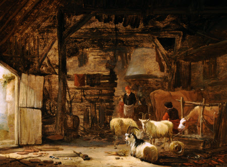 A Barn Interior with Goats, Cattle and Peasants