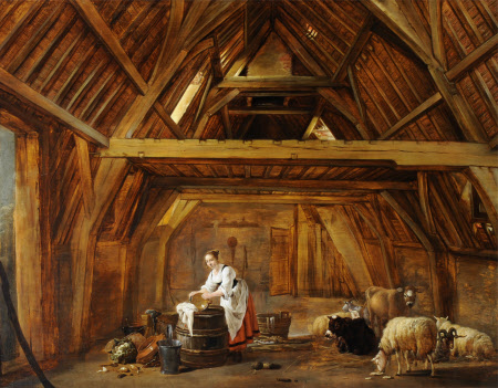 A Barn Interior with a Woman preparing Food