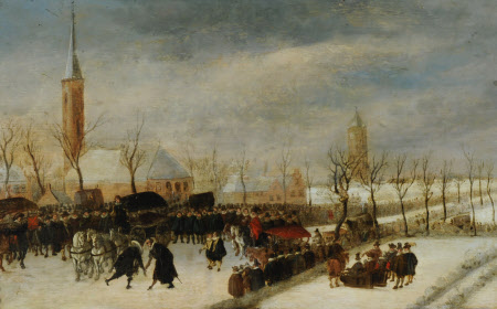 A Winter Scene with a Procession and Two Gentlemen Meeting
